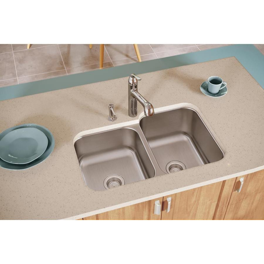 Elkay Dayton 20.5-in x 31.75-in Radiant Satin Double-Basin Stainless Steel Undermount Residential Kitchen Sink