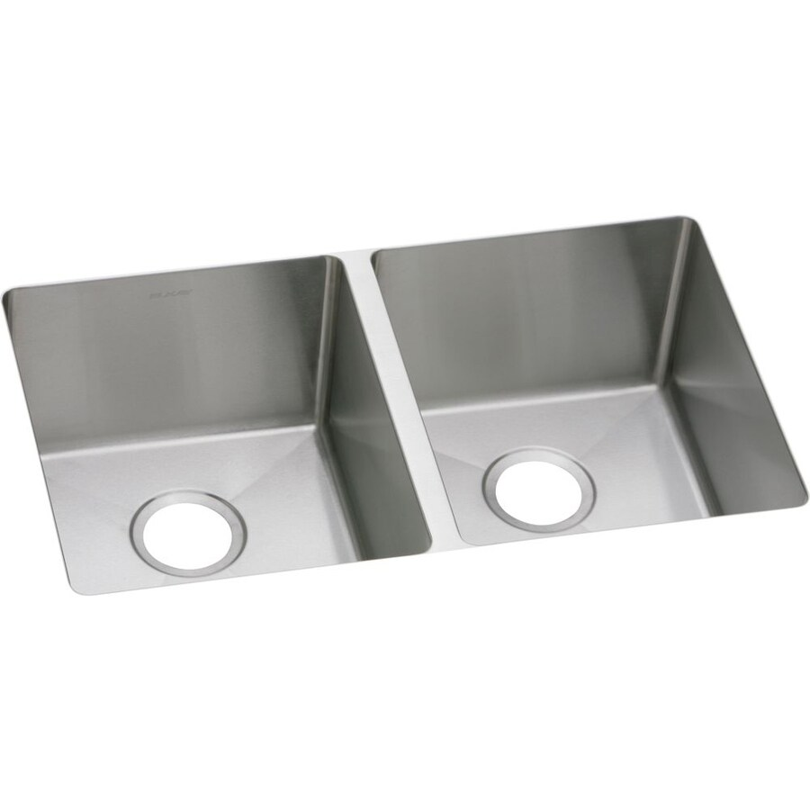 Elkay Avado 18.5-in x 30.75-in Polished Satin Double-Basin Stainless Steel Undermount Residential Kitchen Sink