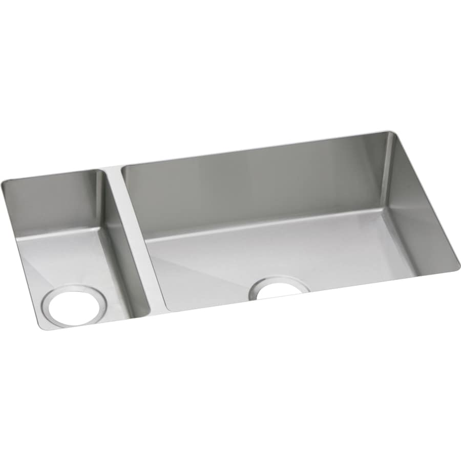 Elkay Avado 18.25-in x 32.25-in Polished Satin 2 Stainless Steel Undermount (Customizable)-Hole Residential Kitchen Sink