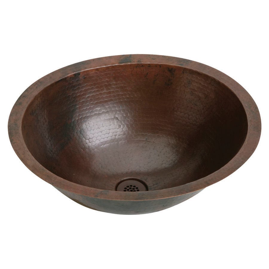Elkay Asana Antique Hammer Copper Undermount Oval Bathroom Sink