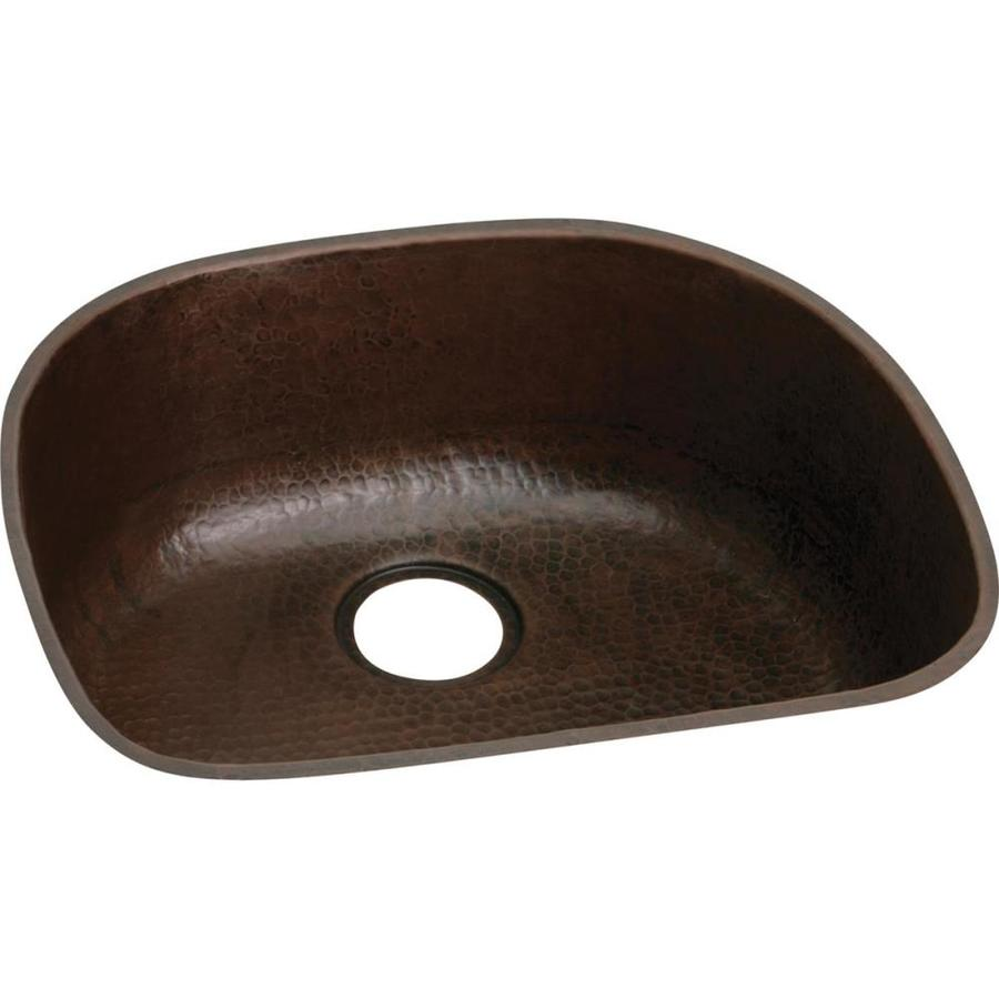 Elkay Harmony 21.12-in x 23.5-in Antique Hammered Single-Basin Copper Undermount Kitchen Sink