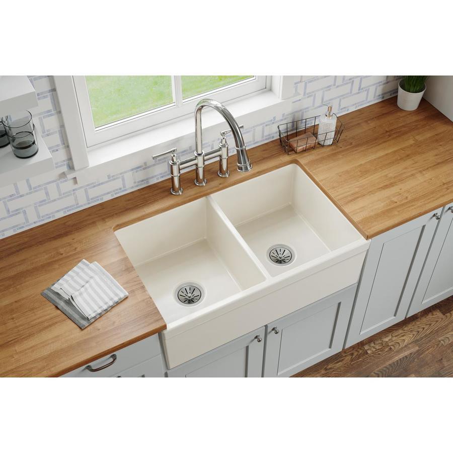 Black Kitchen Sinks Lowe S: Elkay Quartz Classic 33-in X 22-in Black Double-Basin Drop