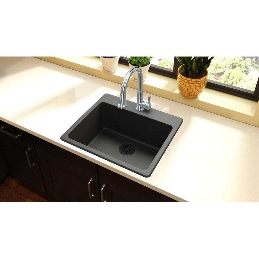kitchen sink 38 x 22 shop elkay gourmet 25 in x 22 in black single basin drop 8425