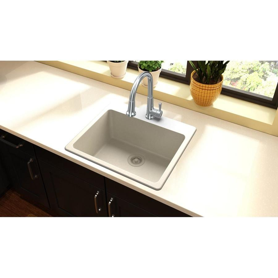 Elkay Gourmet 16-in x 17-in Bisque Single-Basin-Basin Granite Drop-in (Customizable)-Hole Residential Kitchen Sink