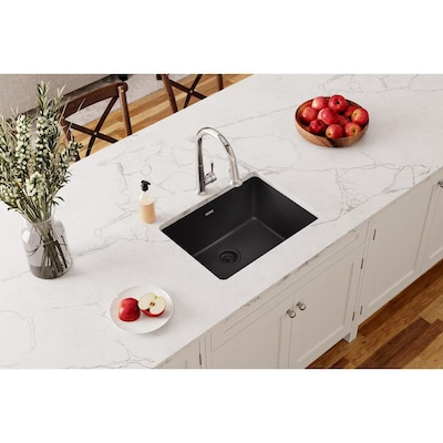 Gourmet 24.625-in x 18.5-in Black Single Bowl Undermount Residential  Kitchen Sink