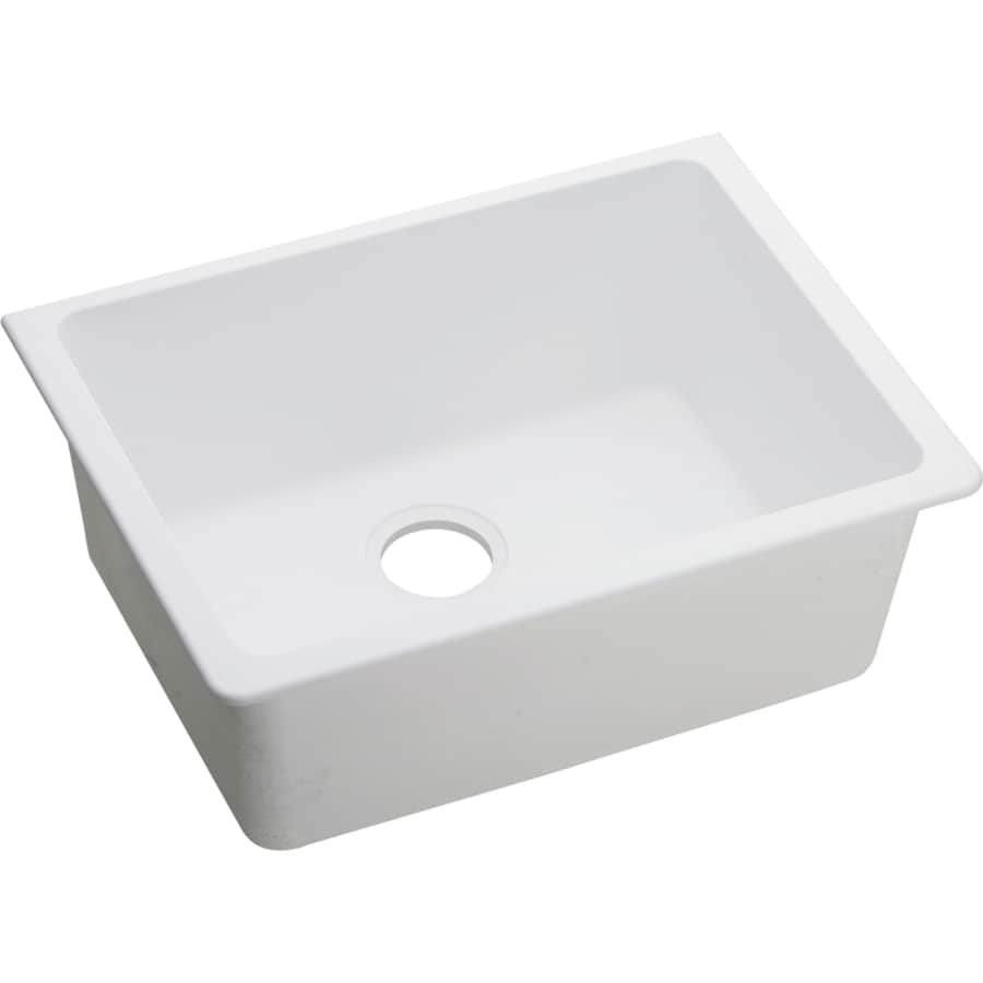 Elkay Gourmet 18.5-in x 25-in White Granite 1 Quartz Undermount (Customizable)-Hole Residential Kitchen Sink