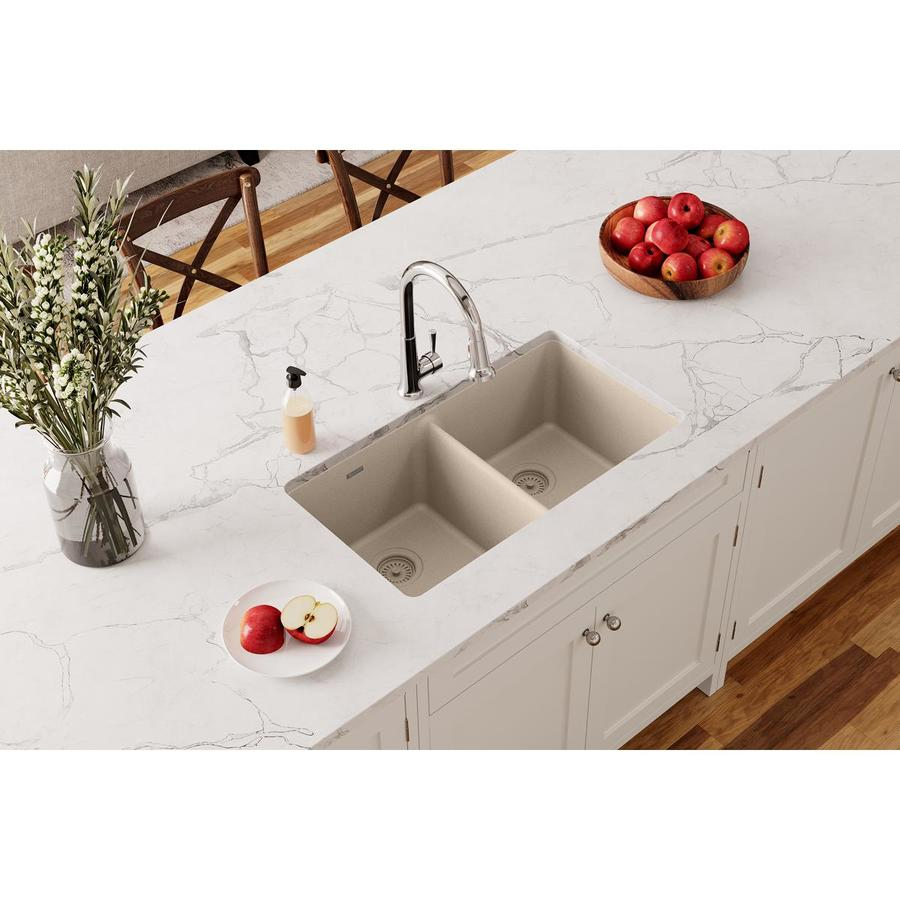 Elkay Gourmet 18.19-in x 33-in Bisque Double-Basin Quartz Undermount Residential Kitchen Sink