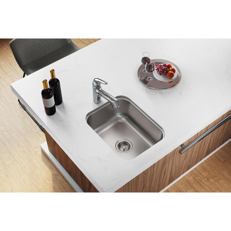 Elkay Dayton 18.25-in x 16.5-in Radiant Satin Single-Basin Stainless Steel Undermount Residential Kitchen Sink