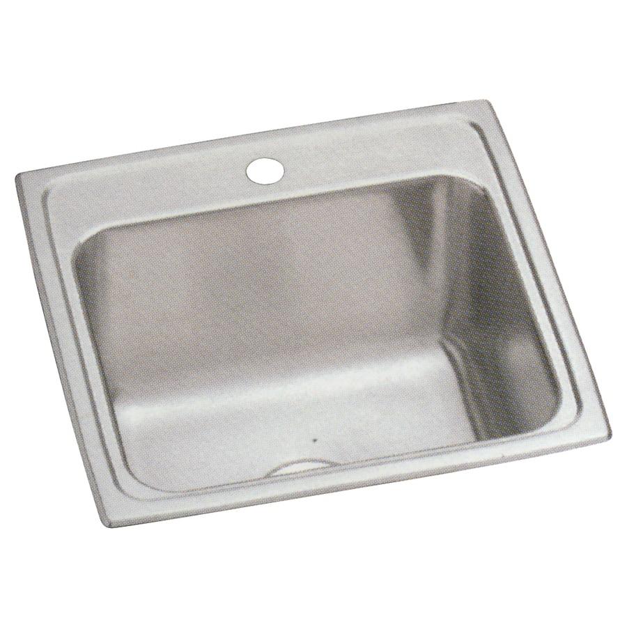 Elkay 19-in x 19.5-in 1-Basin Lustertone Self-Rimming Stainless Steel Laundry Sink