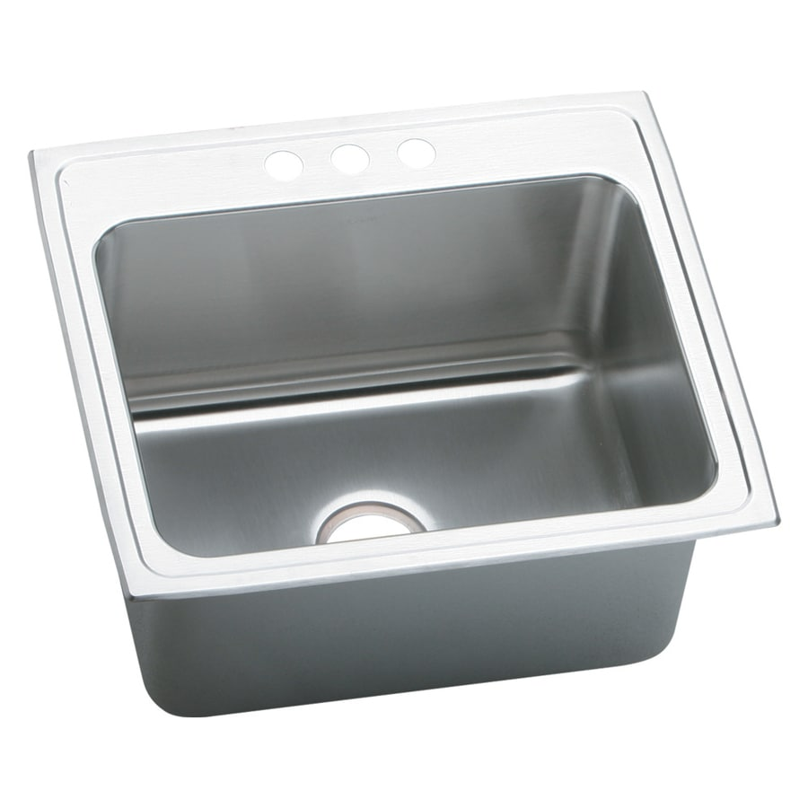 Elkay 22-in x 25-in Lustertone Self-Rimming Stainless Steel Laundry Sink Utility Sink