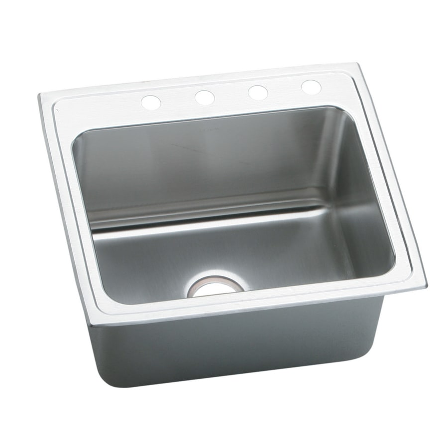 Elkay Pursuit 22-in x 25-in Single-Basin Stainless Steel Drop-in 4-Hole Residential Kitchen Sink