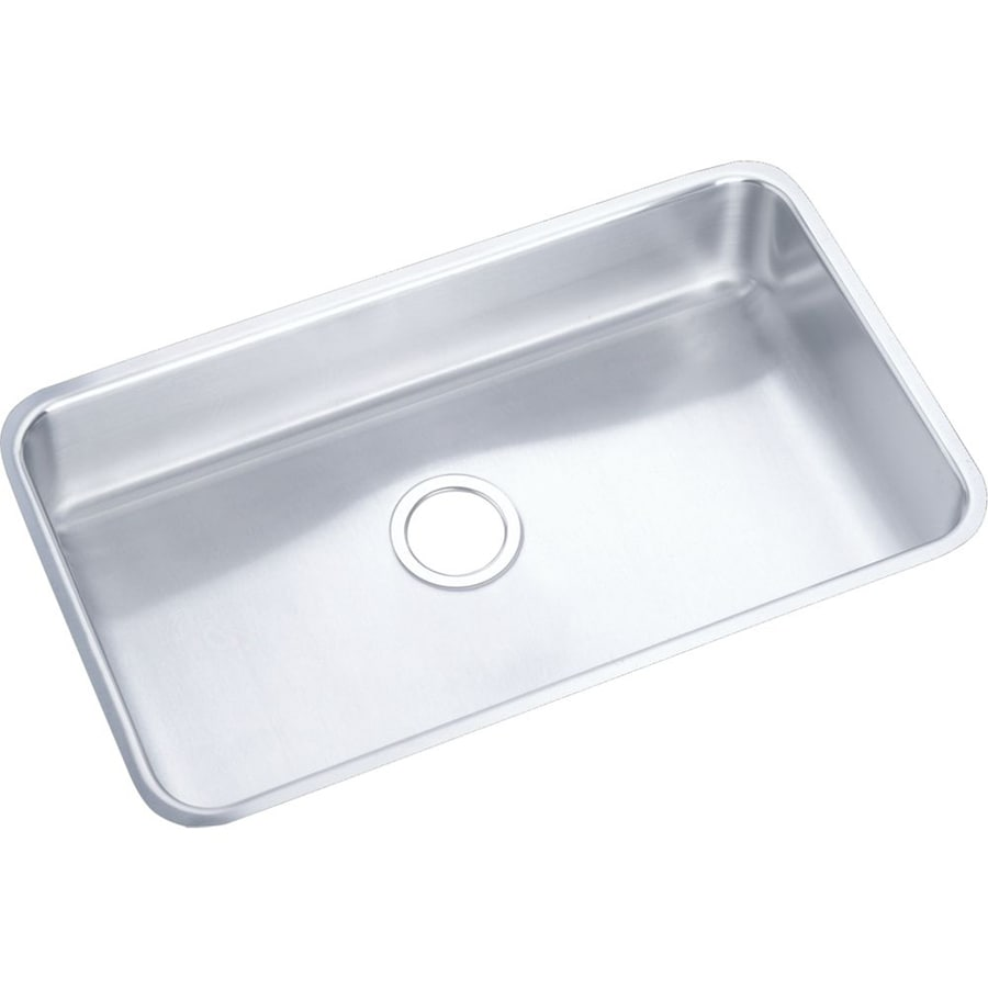 Elkay Gourmet 18.5-in x 30.5-in Lustrous Highlighted Satin Single-Basin-Basin Stainless Steel Undermount (Customizable)-Hole Commercial Kitchen Sink
