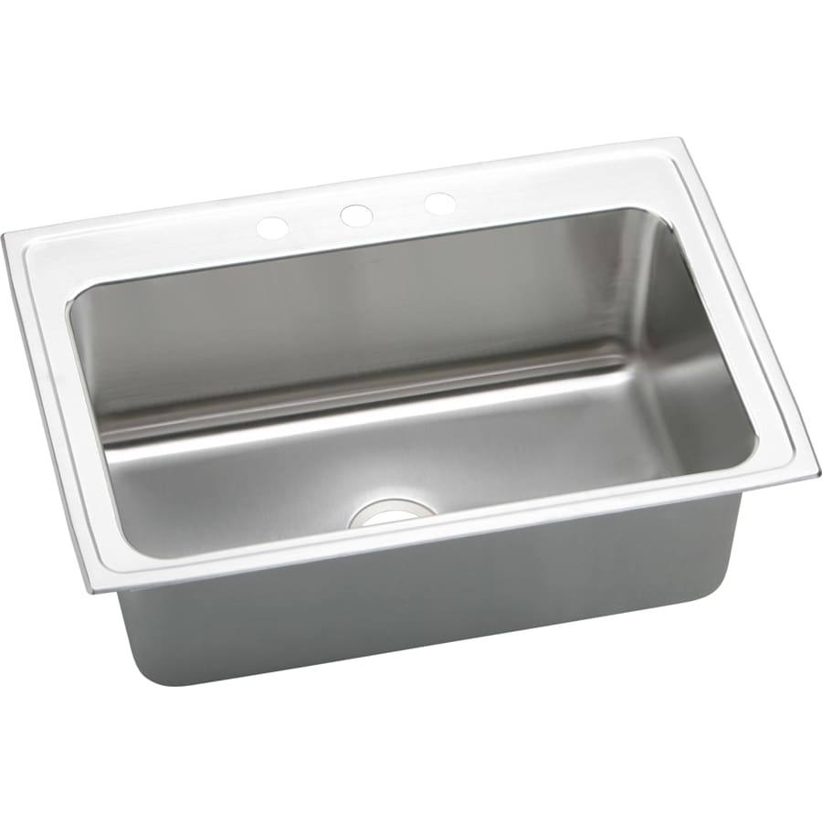 Elkay Gourmet 22-in x 33-in Lustrous Highlighted Satin Single-Basin-Basin Stainless Steel Drop-in 5-Hole Residential Kitchen Sink