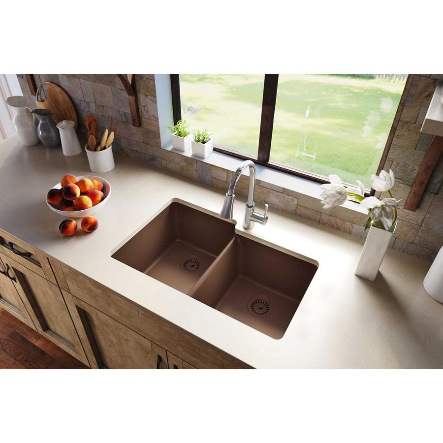 Elkay Gourmet 20.5-in x 33-in Mocha Double-Basin Quartz Undermount Residential Kitchen Sink