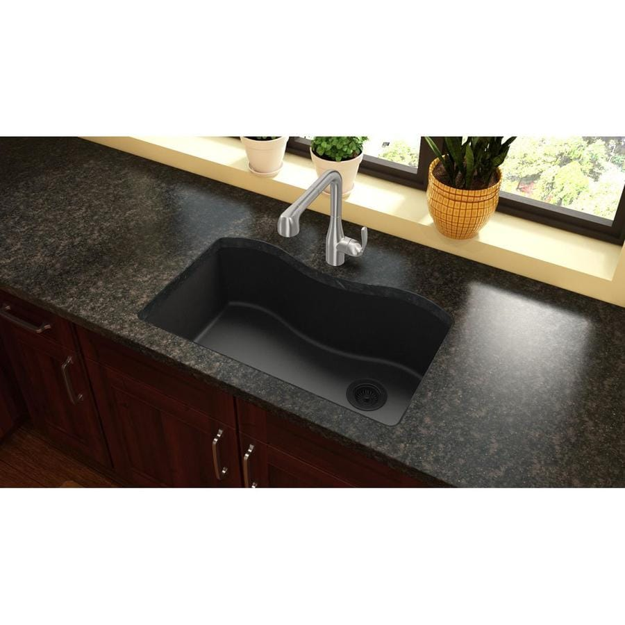 Elkay Harmony 20-in x 33-in Black Single-Basin Quartz Undermount Residential Kitchen Sink