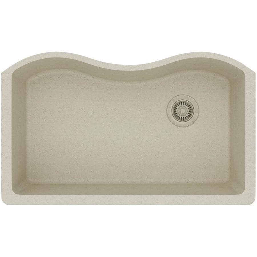 Elkay Harmony 20-in x 33-in Bisque Single-Basin-Basin Quartz Undermount (Customizable)-Hole Residential Kitchen Sink