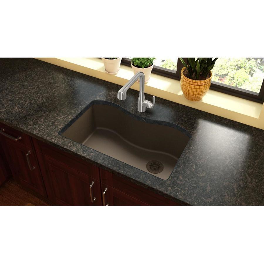 Elkay Harmony 20-in x 33-in Mocha Single-Basin-Basin Quartz Undermount (Customizable)-Hole Residential Kitchen Sink