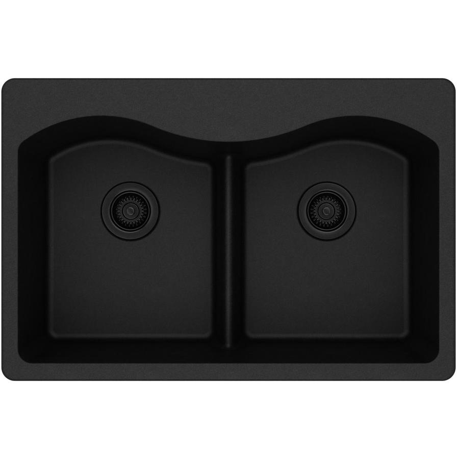 Elkay Harmony 22-in x 33-in Black Double-Basin Granite Drop-in Residential Kitchen Sink