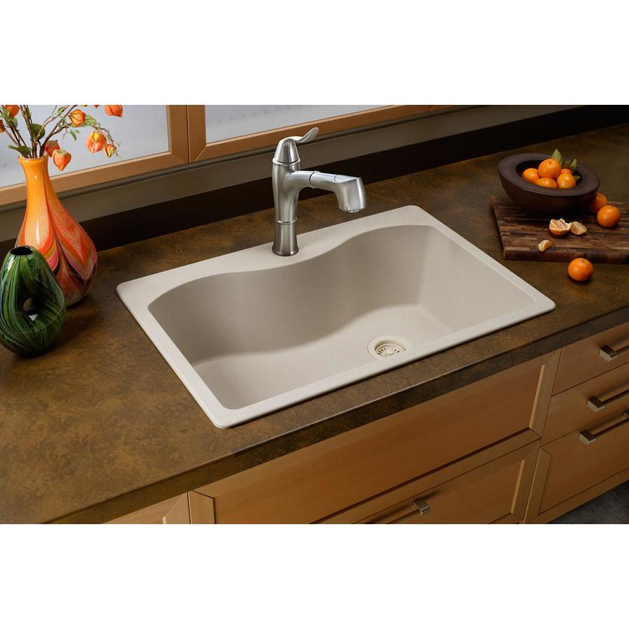 Elkay Harmony 22-in x 33-in Bisque Single-Basin-Basin Quartz Drop-in (Customizable)-Hole Residential Kitchen Sink