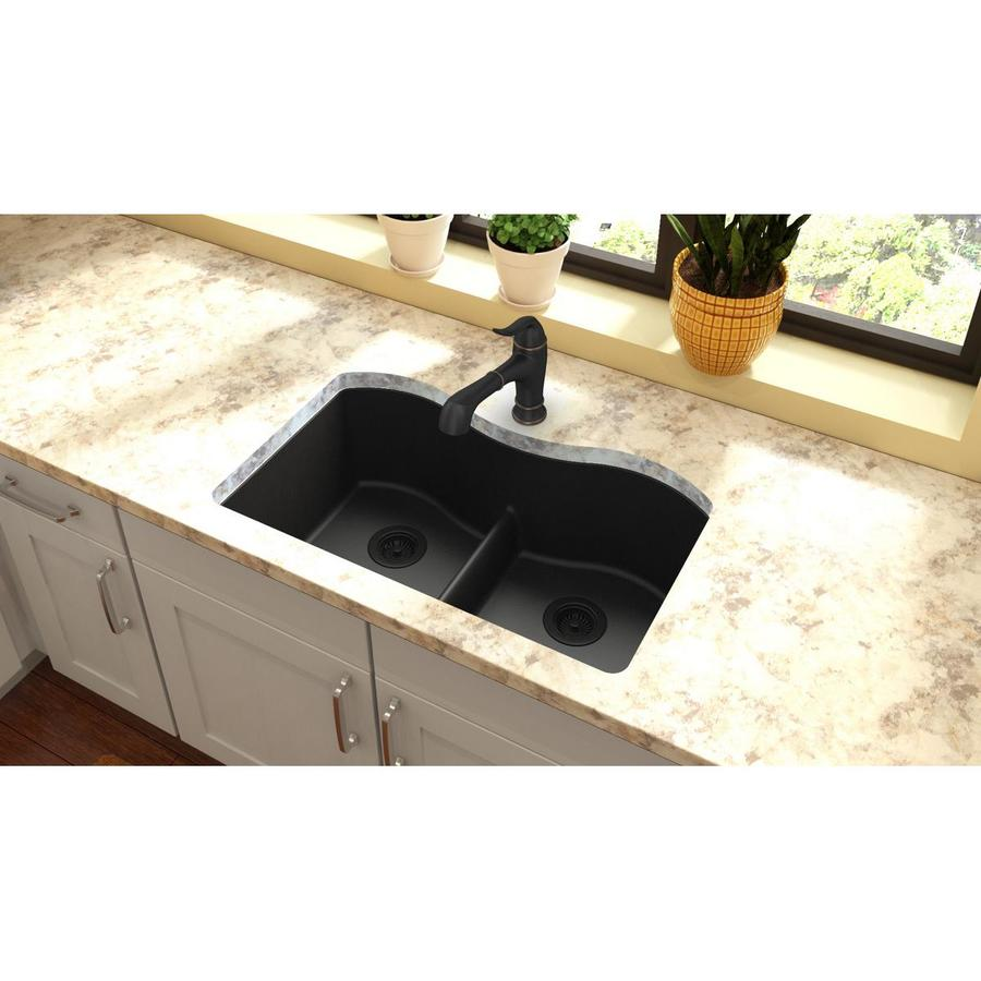 Elkay Harmony 20.13-in x 33-in Black 2 Quartz Undermount (Customizable)-Hole Residential Kitchen Sink
