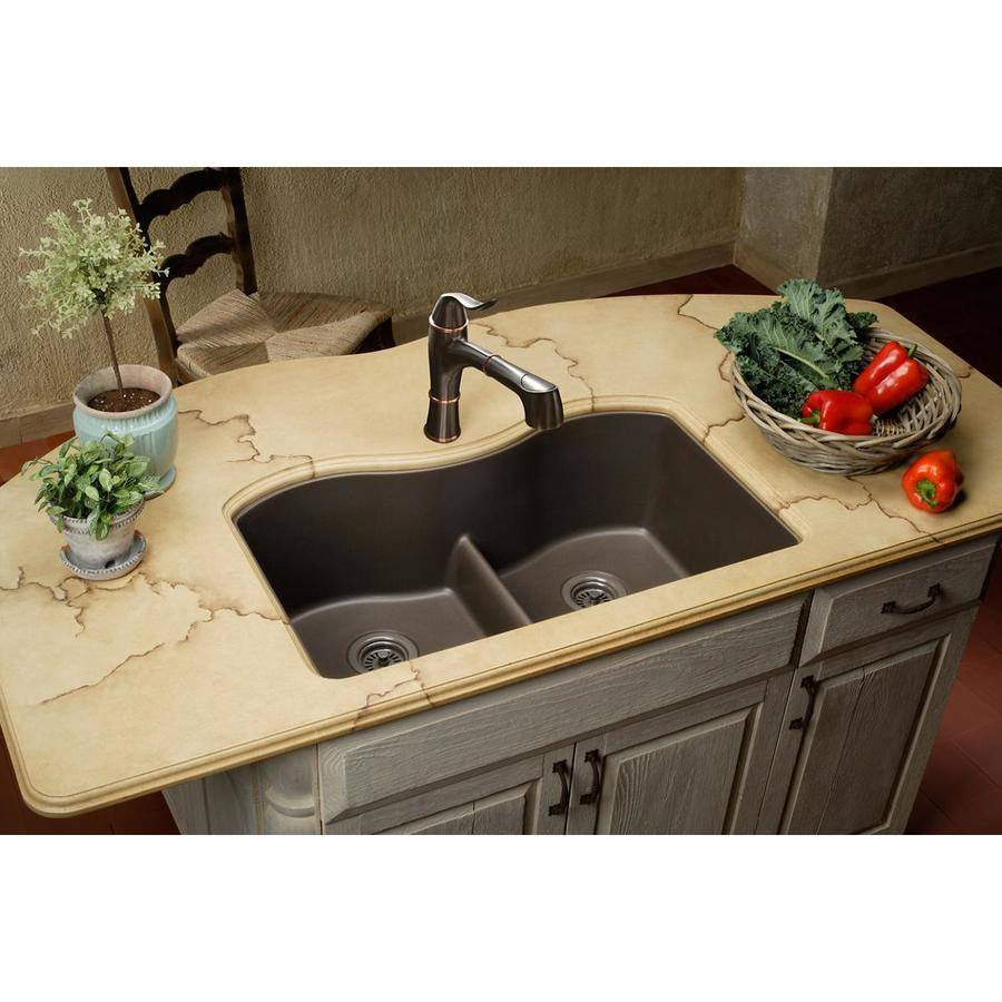 Elkay Harmony 20.13-in x 33-in Mocha Double-Basin Granite Undermount Residential Kitchen Sink