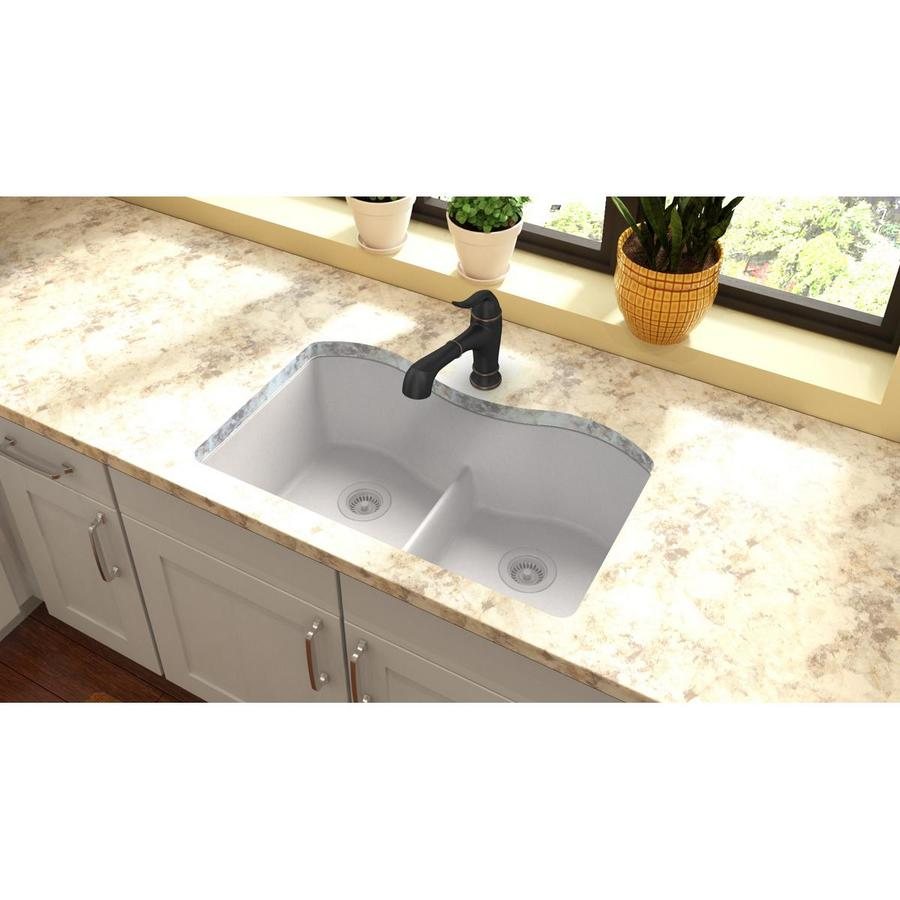 Elkay Harmony 20.13-in x 33-in White Granite Double-Basin Quartz Undermount Residential Kitchen Sink