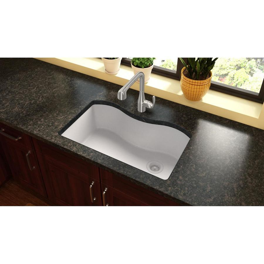 Elkay Harmony 20-in x 33-in White Granite Single-Basin Quartz Undermount Residential Kitchen Sink