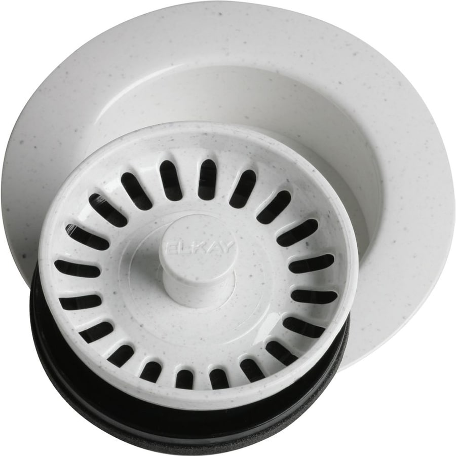 plastic kitchen sink strainer shop elkay everyday 4 5 in white plastic fixed post 4270