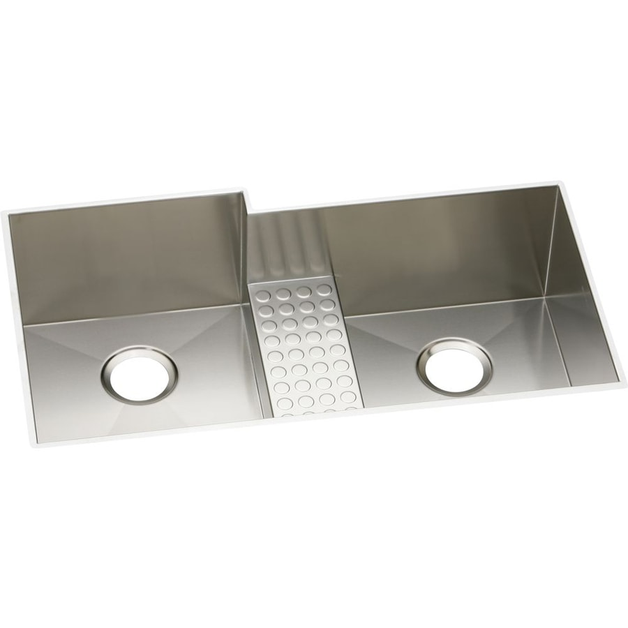 Elkay Avado 20.5-in x 35.5-in Polished Satin Double-Basin Stainless Steel Undermount Residential Kitchen Sink with Drainboard