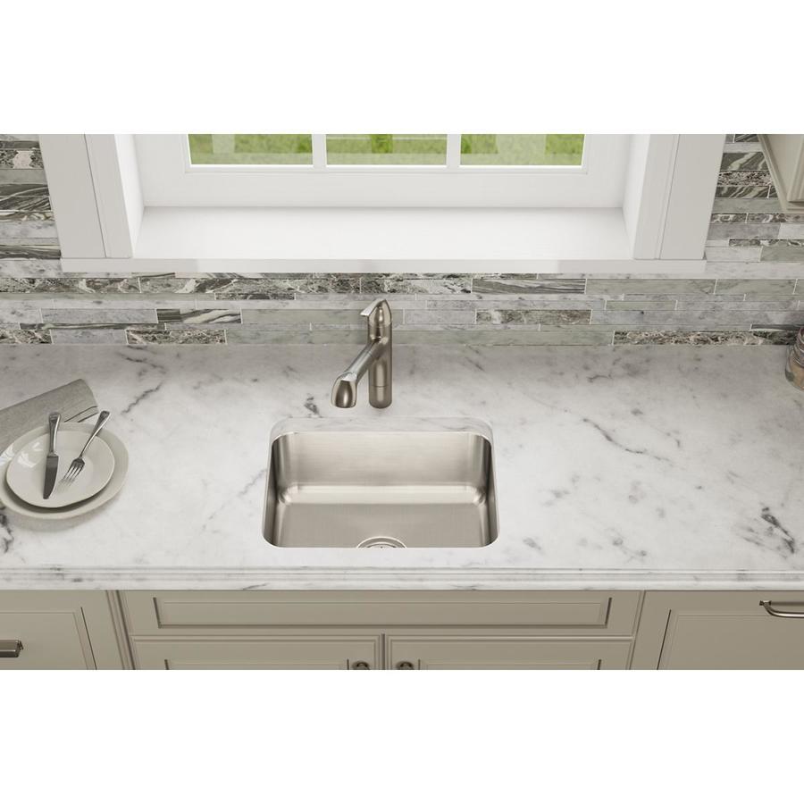 Elkay Gourmet 15.5-in x 19.5-in Loustrous Satin Single-Basin Stainless Steel Undermount Residential Kitchen Sink