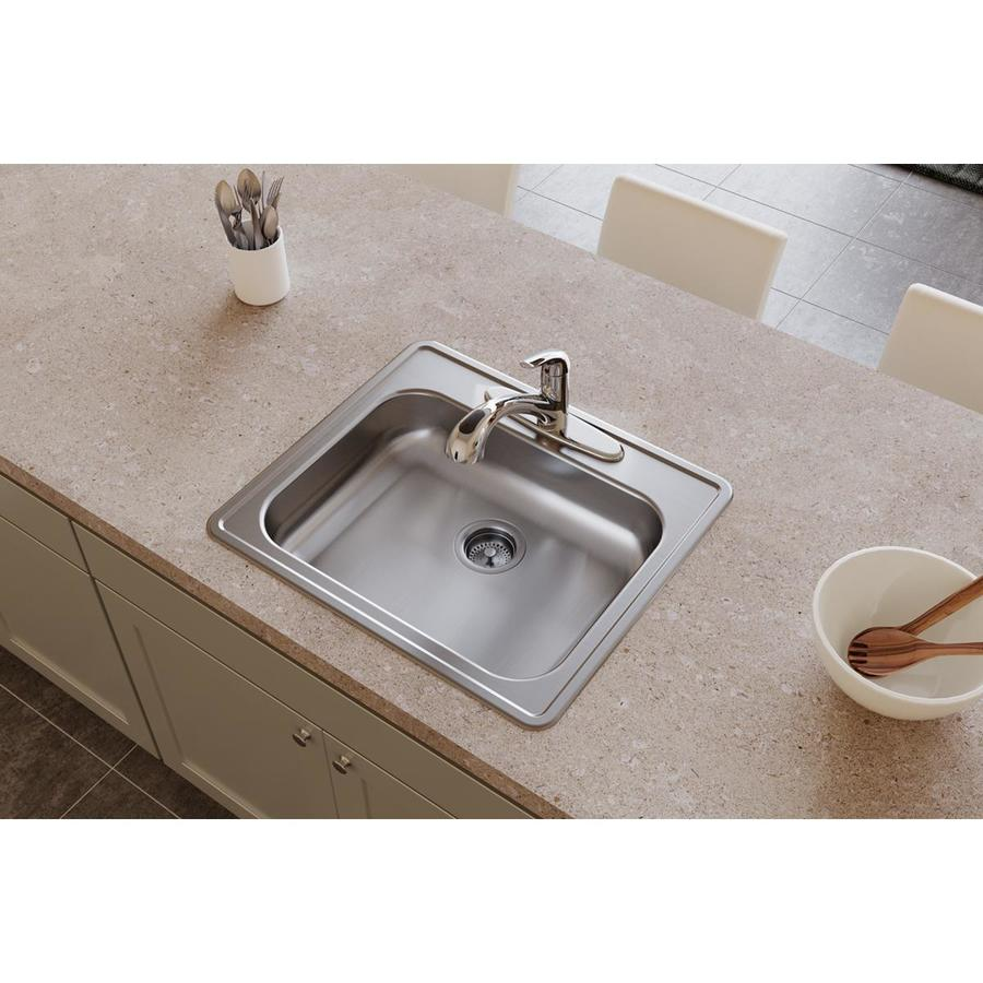 Elkay Dayton 7.81-in x 23.44-in Radiant Satin Single-Basin Stainless Steel Drop-in 3-Hole Residential Kitchen Sink