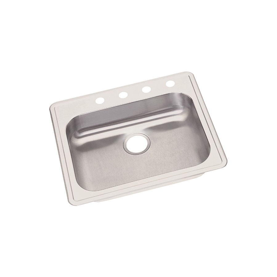 Elkay Dayton 7.81-in x 23.44-in Radiant Satin 1 Stainless Steel Drop-in 4-Hole Residential Kitchen Sink