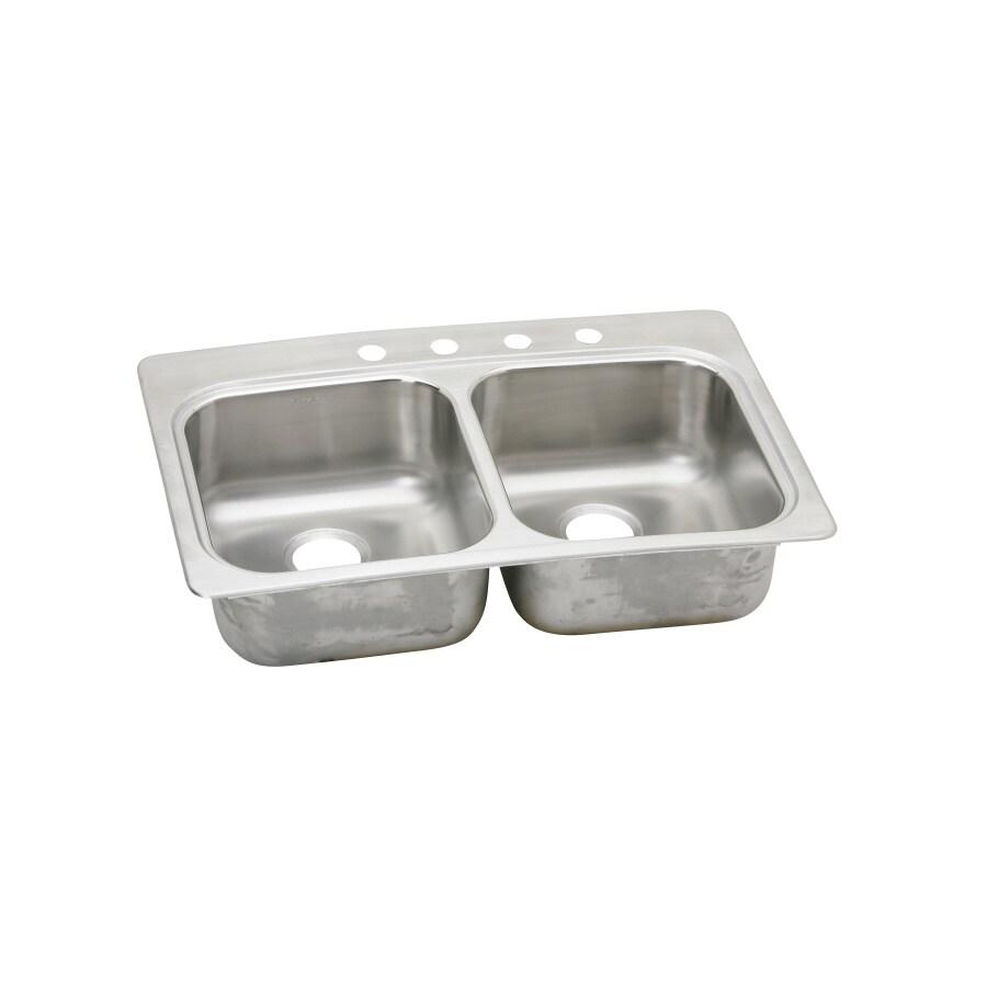 Elkay 22-in x 33-in Double-Basin Stainless Steel Drop-in or Undermount Kitchen Sink