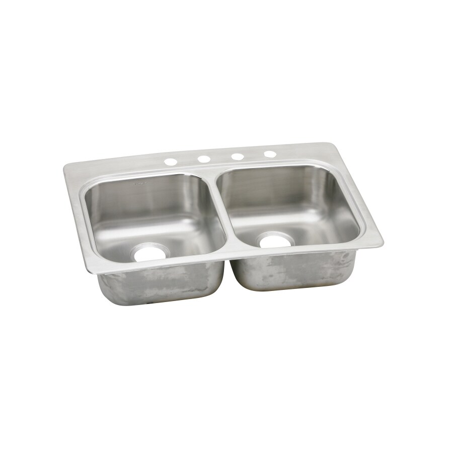 Elkay 22-in x 33-in Stainless Double-Basin Drop-in or Undermount Kitchen Sink