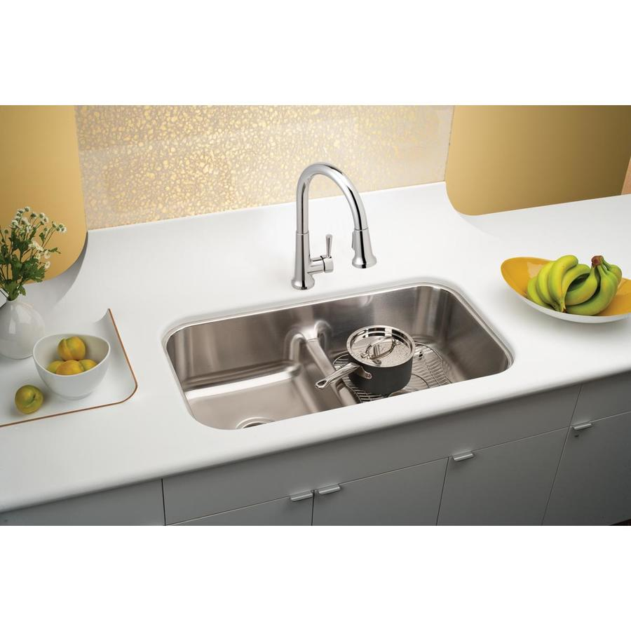 Elkay Gourmet 18.125-in x 32.5-in Bright Highlighted Satin Double-Basin Undermount Residential Kitchen Sink