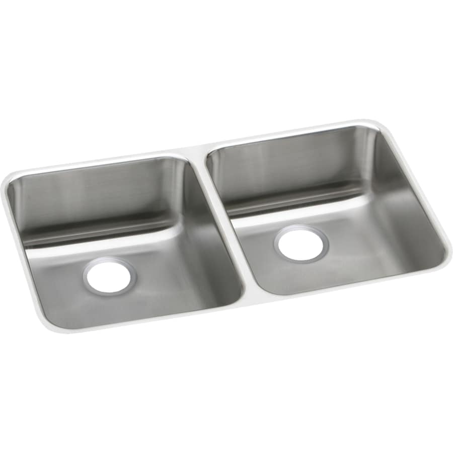 Elkay Gourmet 16.5-in x 31.75-in Double-Basin Stainless Steel Undermount Commercial Kitchen Sink