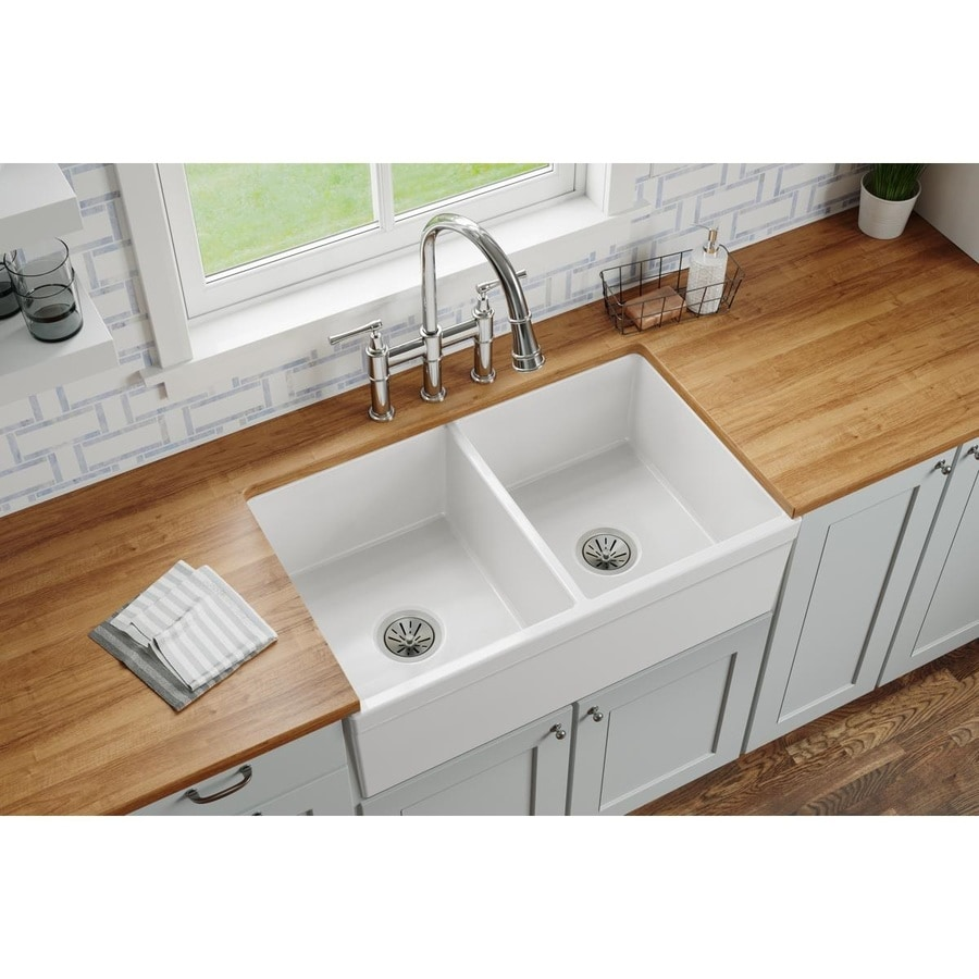 ... Double-Basin Fireclay Apron Front/Farmhouse Residential Kitchen Sink
