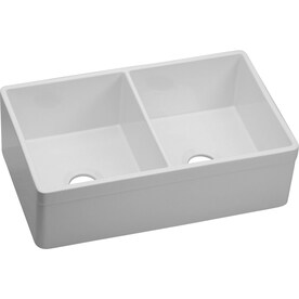 White Kitchen Sink Shop kitchen sinks at lowes elkay explore 19875 in x 3275 in white double basin fireclay apron front workwithnaturefo