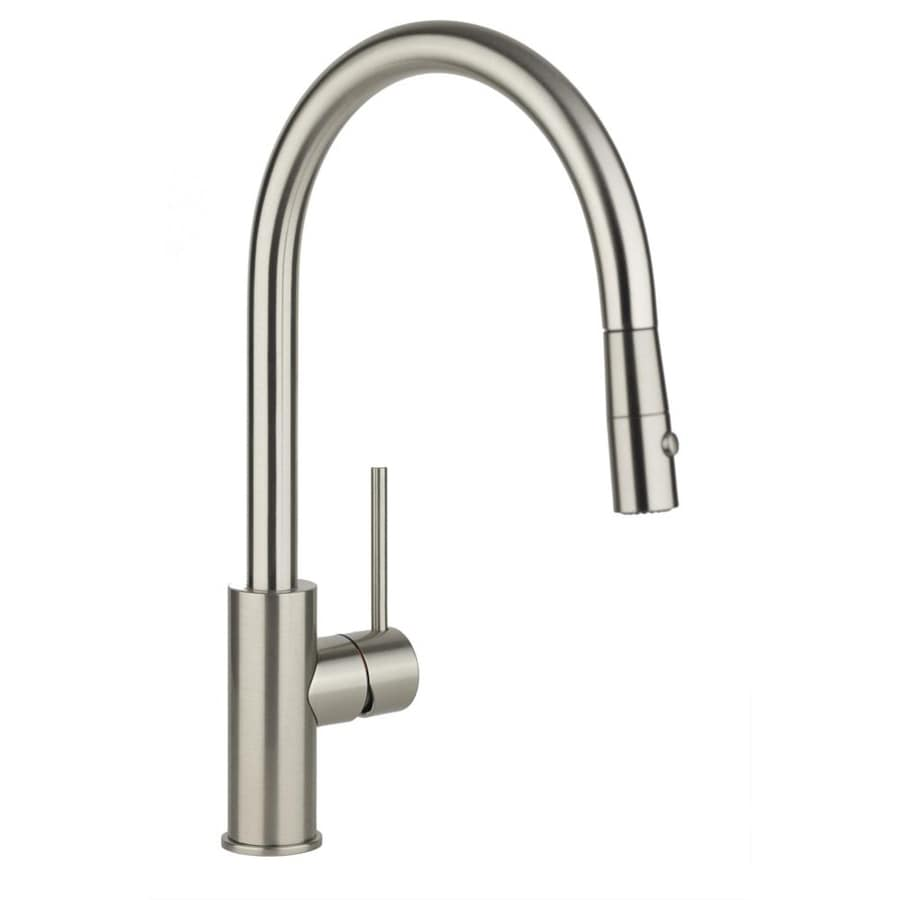 shop elkay harmony brushed nickel 1 handle pull down elkay gourmet pull down kitchen faucet 16439398
