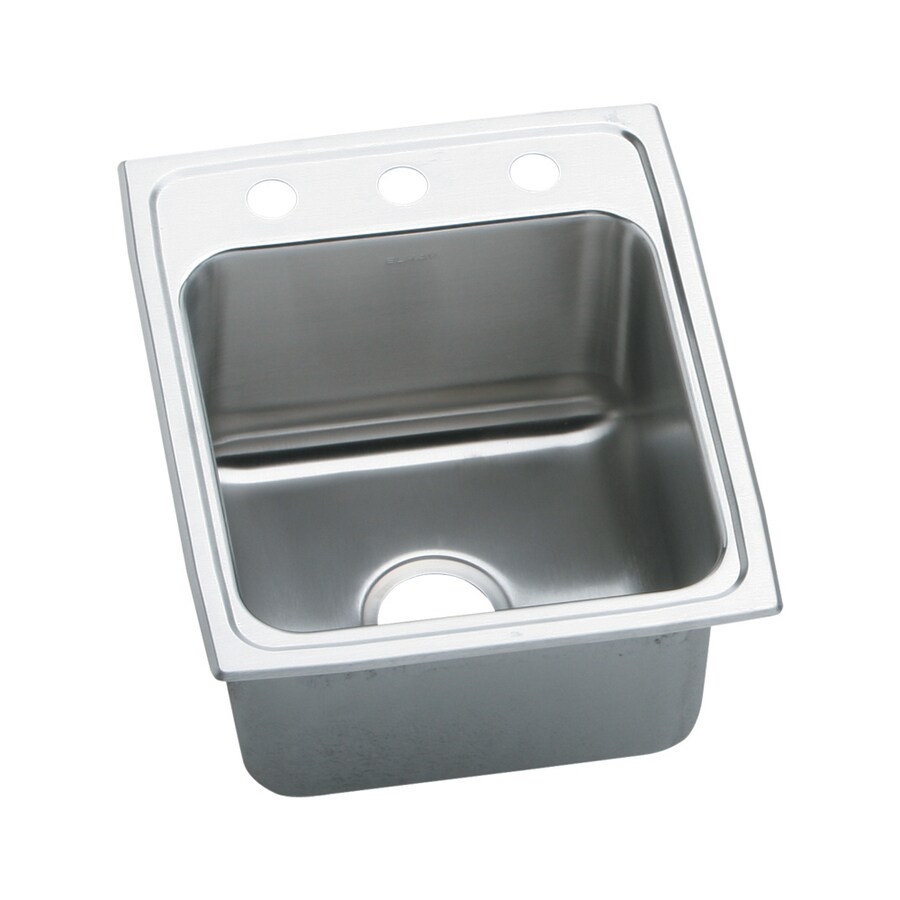 Elkay Gourmet 22-in x 17-in Single-Basin Stainless Steel Drop-in 3-Hole Commercial Kitchen Sink