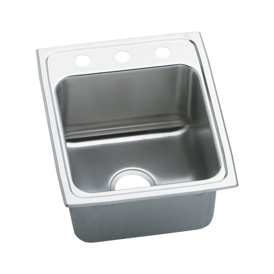 Elkay Gourmet 22-in x 17-in Stainless Steel Single-Basin Drop-in 3-Hole Commercial Kitchen Sink