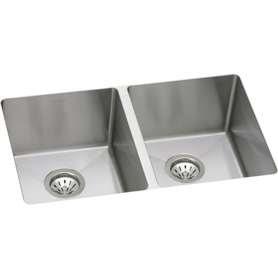 Elkay Avado 18.5-in x 30.75-in Double-Basin Stainless Steel Undermount Residential Kitchen Sink