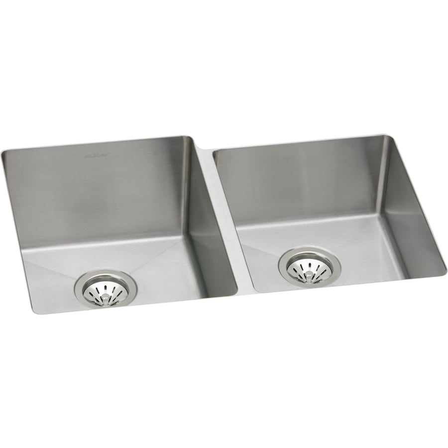 Elkay Avado 20.5-in x 31.25-in Double-Basin Stainless Steel Undermount Residential Kitchen Sink
