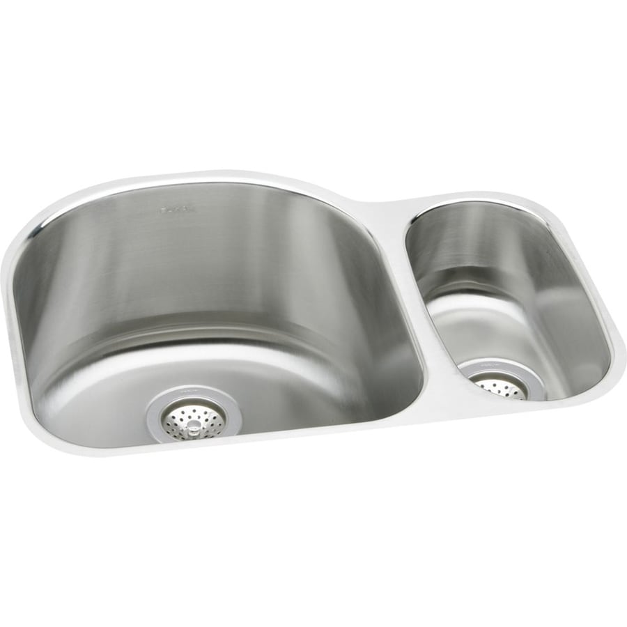 Elkay Harmony 20-in x 26.75-in Lustrous Highlighted Satin Double-Basin Stainless Steel Undermount Residential Kitchen Sink