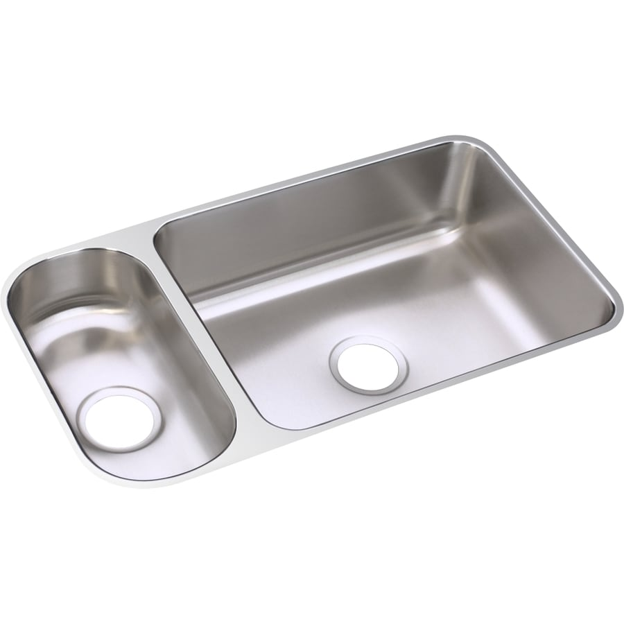 Elkay Gourmet 18.25-in x 32.25-in Lustrous Highlighted Satin Single-Basin-Basin Stainless Steel Undermount (Customizable)-Hole Residential Kitchen Sink