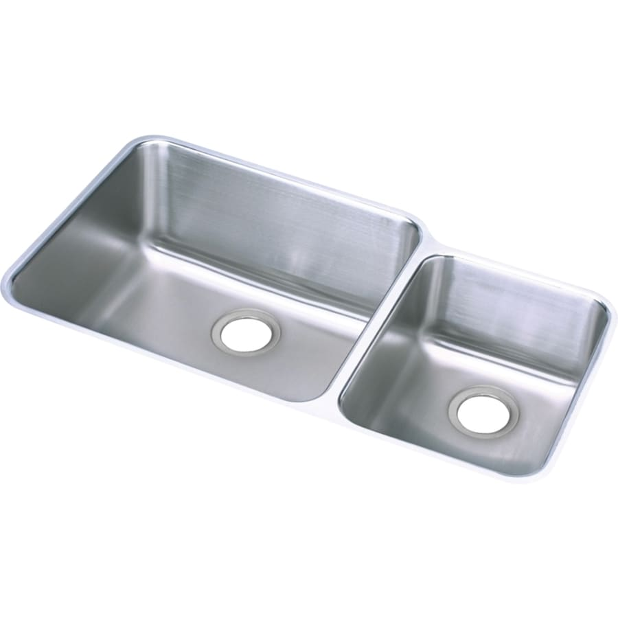 Elkay Gourmet 20.5-in x 35.25-in Double-Basin Stainless Steel Undermount Residential Kitchen Sink