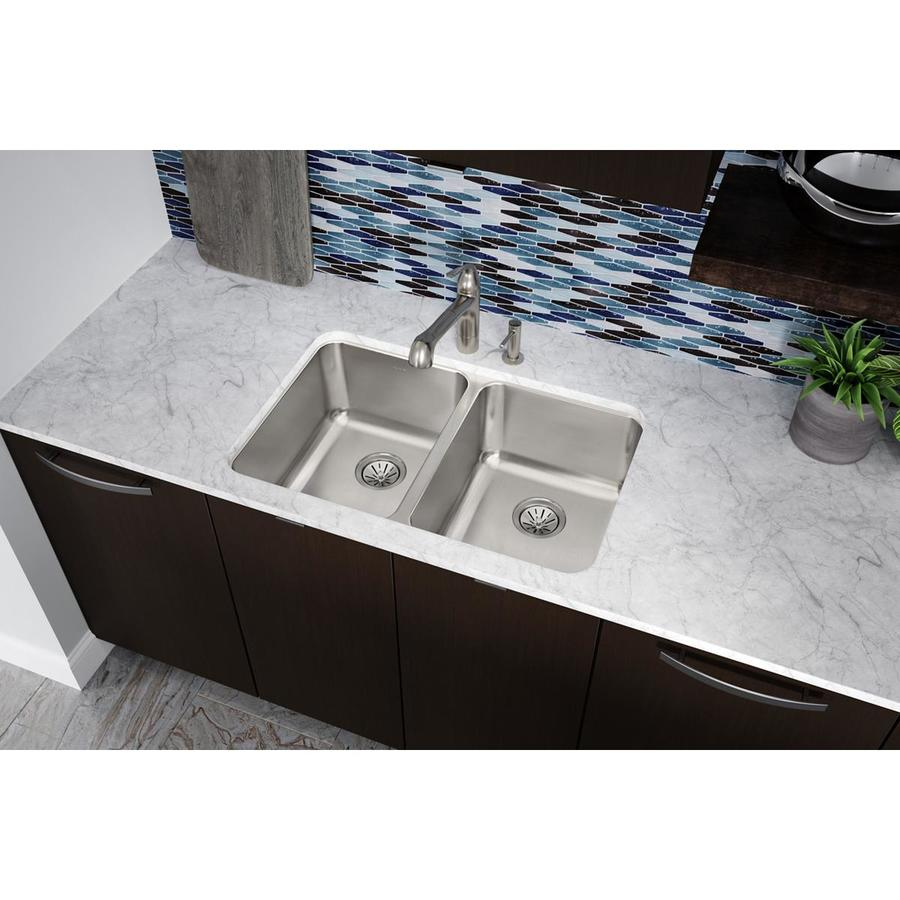 Elkay Gourmet 20-in x 31.25-in Stainless Steel Double-Basin Undermount Residential Kitchen Sink