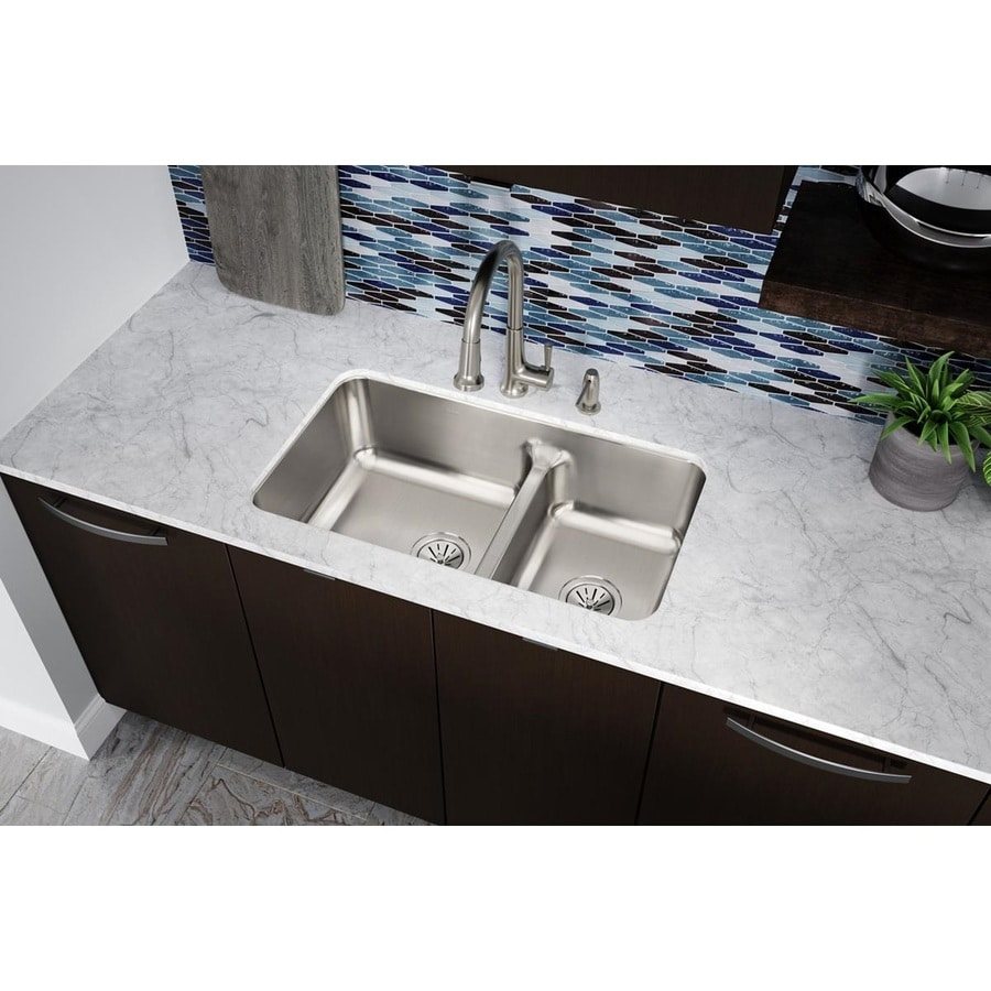 Elkay Gourmet 18.5-in x 32.0625-in Lustrous Highlighted Satin Double-Basin Stainless Steel Undermount Residential Kitchen Sink