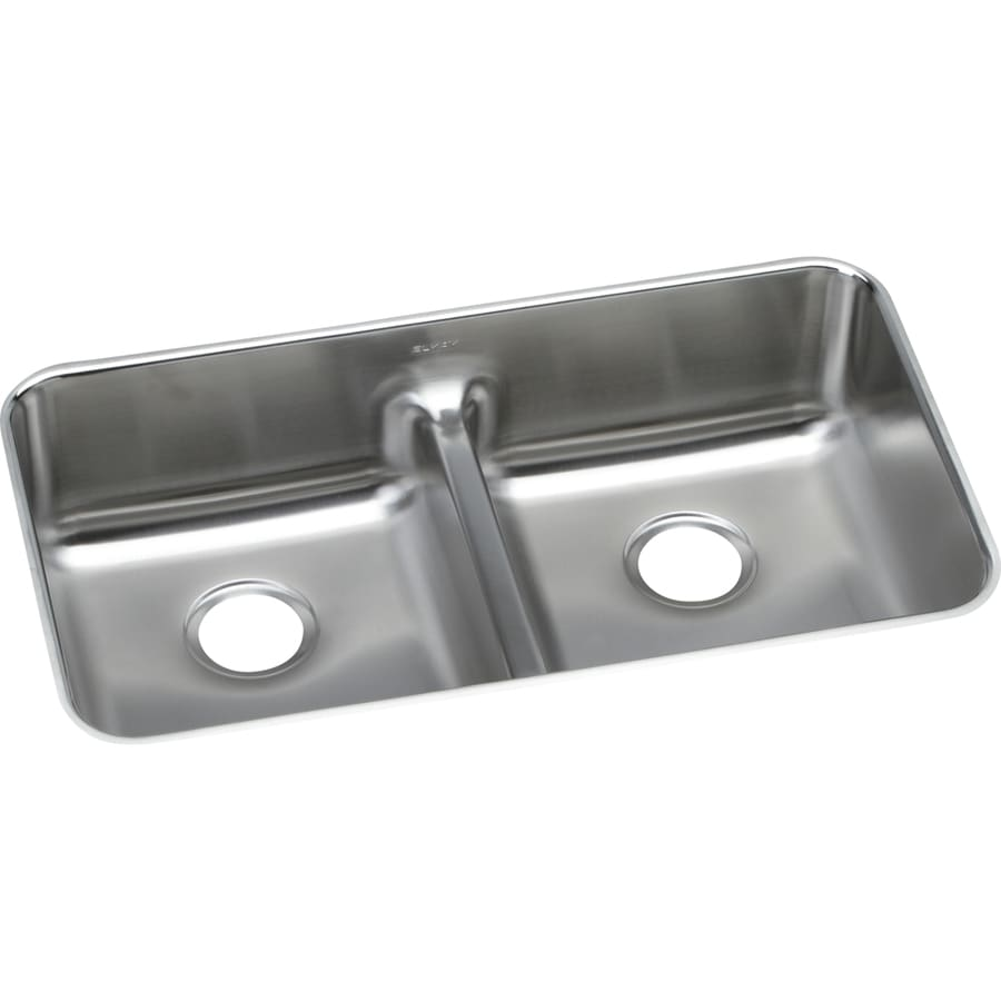 Elkay Gourmet 18.5-in x 32.0625-in Lustrous Highlighted Satin Double-Basin Undermount Residential Kitchen Sink