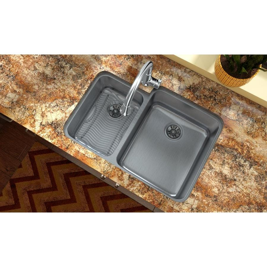 Elkay Gourmet 21-in x 30.75-in Stainless Steel Double-Basin Stainless Steel Undermount Residential Kitchen Sink